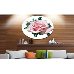 Watercolor Rose with Green Leaves' Oversized Floral Aluminium Wall Art