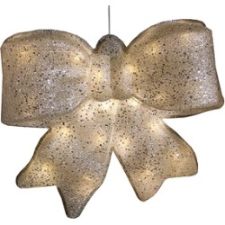 """15.5"""" Silver Glittered Battery Operated Light LED Christmas Bow D""""cor"""