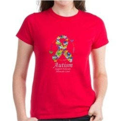 CafePress Autism Butterfly Ribbon Dark T-Shirt found on Bargain Bro India from groupon for $9.98