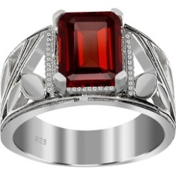 Orchid Jewelry 925 Sterling Silver 2 3/4 Carat Garnet Ring