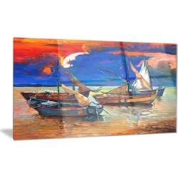 Fishing Boats Under Blue Sky Seascape Metal Wall Art 28x12