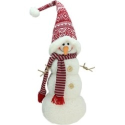 """27"""" Snowman with Red and Gray Striped Scarf Christmas Figure"""