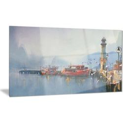Fishing Boats in Harbor Landscape Metal Wall Art 28x12