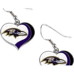 Sports Team Logo NFL Glitter Heart Earring Swirl Charm Set