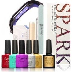 UV-Gel Color Nail Art Spark Sets Kits Nail Polish with LED Lamp found on MODAPINS from groupon for USD $41.99