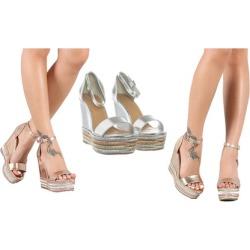 Women Metallic Ankle Strap Striped Espadrille Platform Wedge Choice-27
