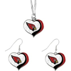 Sports Team Logo NFL Glitter Heart Necklace and Earring Set Charm Gift