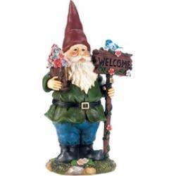 Solar Bluebird Gnome Welcome Garden Statue
