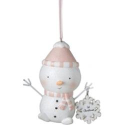 "3.5"" Peachy Pink Blushing ""1st Christmas"" Snowman Christmas Ornament"