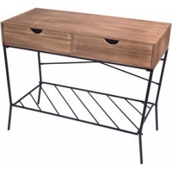 Wood and Metal Console Table with 2 Drawers and Storage Shelf