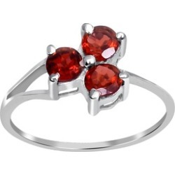 Orchid Jewelry 925 Sterling Silver 1 Carat Prong Set Garnet Ring