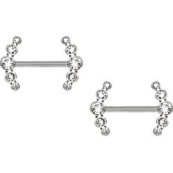 Nipple Ring Shield Double Arrow bar body Jewelry sold as Pair