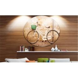 Bicycle against Wall' Vintage Bicycle Photo Circle Metal Wall Art