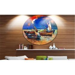 Fishing Boats Under Blue Sky' Seascape Circle Metal Wall Art
