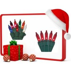 100 Mini Red Christmas Holiday Lights + 50 Mini Multicolor lights Free
