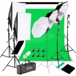 Kshioe White Umbrellas Soft Light Box Background Light Stands 4 Lights Set