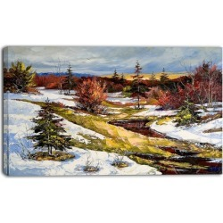 Spring Valley with River - Landscape Canvas Print