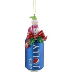 """4.75"""" Blue Jolly Pepsi Can Snowman Topper Glass Christmas Ornament"""