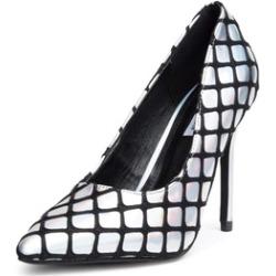 Hologram Silver Pointy Toe Slip-On High Heel Pumps Women's