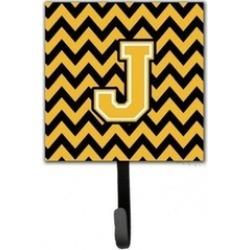 Carolines Treasures CJ1053-JSH4 Letter J Chevron Black & Gold Leash or Key Hold