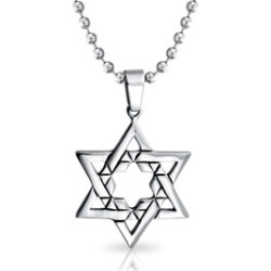 Bling Jewelry Mens Large Jewish Star of David Steel Religious Pendant