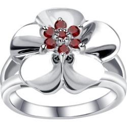 Orchid Jewelry 925 Sterling Silver 0.85 Carat Garnet Flower Ring