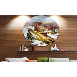 Spring Valley with River' Landscape Circle Metal Wall Art