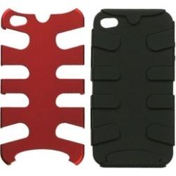 Insten Titanium Red/Black Fishbone Case For iPhone 4 4S