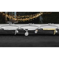 Willowbird Crystal Inspirational Charm Slider Bracelets