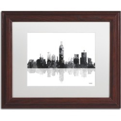 Marlene Watson 'Indianapolis Indiana Skyline BG-1' Matted Wood Framed Art