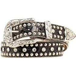 Nocona Belt N3451001-L 1.5 in. Womens Rhinestone Studded Croc Print Leather Belt