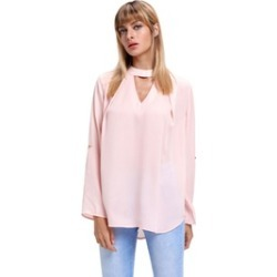 Women's Choker Cut out V Neck Blouse with Keyhole Back