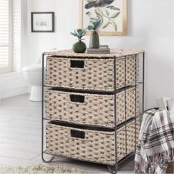 Drawer Storage Unit 3 Rattan Wicker Baskets Bin Chest Tower Rack