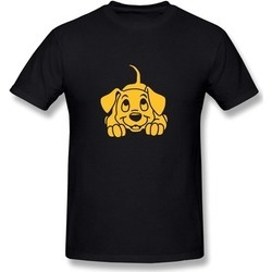 LENGYUE Puppy Dog Pets Yellow Tshirts For Man Black