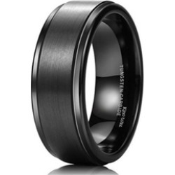 Tungsten Carbide 8mm Black High Polish Matte Finish Men's Wedding Ring found on MODAPINS from groupon for USD $59.99