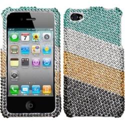 Insten Green/Silver Stripes Diamante Case For iPhone 4 4S