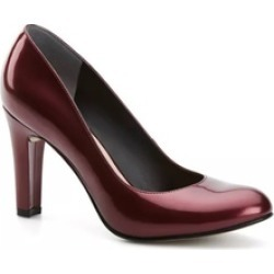 Ladies Burgundy Pump High Heels with Patent Like Finish Surface - 9.5