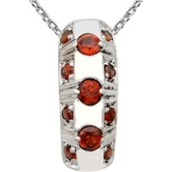 Orchid Jewelry 925 Sterling Silver 0.85 Carat Garnet Necklace