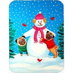 Carolines Treasures 7115LCB Snowman with Pug Glass Cutting Board