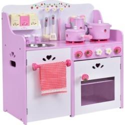 Kids Wooden Play Set Kitchen Toy Strawberry Pretend Cooking Playset