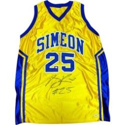 Autographed Derrick Rose Simeon High School Yellow Custom Jersey