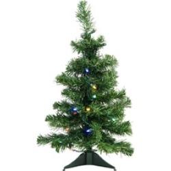 "2' x 14"" Mixed Classic Pine Medium Artificial Christmas Tree Multi LED"