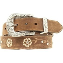 Ariat A1510202-XL 1.5 in. Womens Floral Embroidered Rhinestone Belt Brown - Extr
