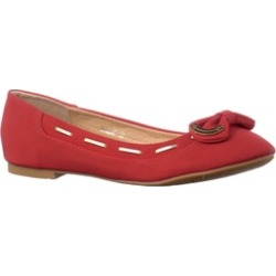 Riverberry Women's 'Milap' Bow Accent Round Toe Flats, Red