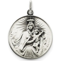 Sterling Silver Antiqued Our Lady of the Holy Scapular Medal