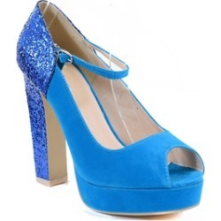 Peep-toe Glitter Mary Jane Chunky Heel Hidden Platform Pumps Shoes