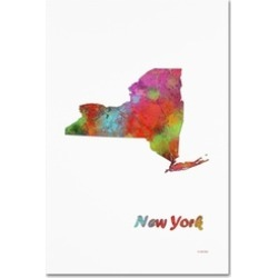 Marlene Watson 'New York State Map' Canvas Art