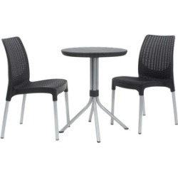 Keter Chelsea 3-Piece Resin Outdoor Patio Furniture Dining Bistro Set