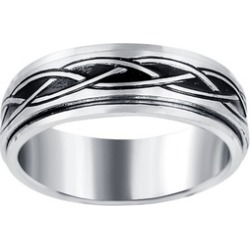 Mens Stainless Steel High Polished Engraved