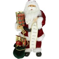 """24"""" Traditional Santa Holding List and Gift Bag Christmas Figure"""